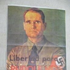 Carteles Políticos: LIBERTAD PARA RUDOLF HESS PRESO DESDE 1941, IMPRESO POR CEDADE EN 1979, 32X44 CM NAZI. Lote 154861722