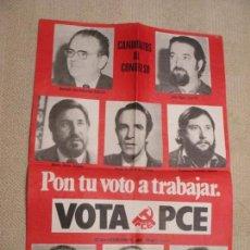 Carteles Políticos: CARTEL PARTIDO COMUNISTA CON CANDIDATOS, CANTABRIA ELECCIONES GENERALES 1977, 43X63,5 CM. Lote 154884474