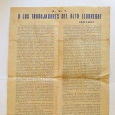 Carteles Políticos: CNT A LOS TRABAJADORES DEL ALTO LLOBREGAT. 7 ABRIL DE 1931. C.N.T.. Lote 155599230