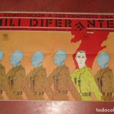 Carteles Políticos: ANTIGUO CARTEL JUVENTUDES SOCIALISTAS - LA CONSTITUCIÓN A LOS CUARTELES - AÑO 1985. Lote 156002686