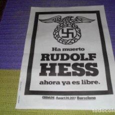 Carteles Políticos: CARTEL - RUDOLF HESS -. Lote 157104490