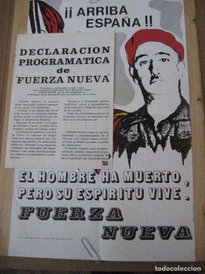CARTEL DE FUERZA NUEVA DE 1977 Y DECLARACION PROGRAMATICA DE FUERZA NUEVA. (Coleccionismo - Carteles gran Formato - Carteles Políticos)