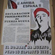 Carteles Políticos: CARTEL DE FUERZA NUEVA DE 1977 Y DECLARACION PROGRAMATICA DE FUERZA NUEVA.. Lote 161952594