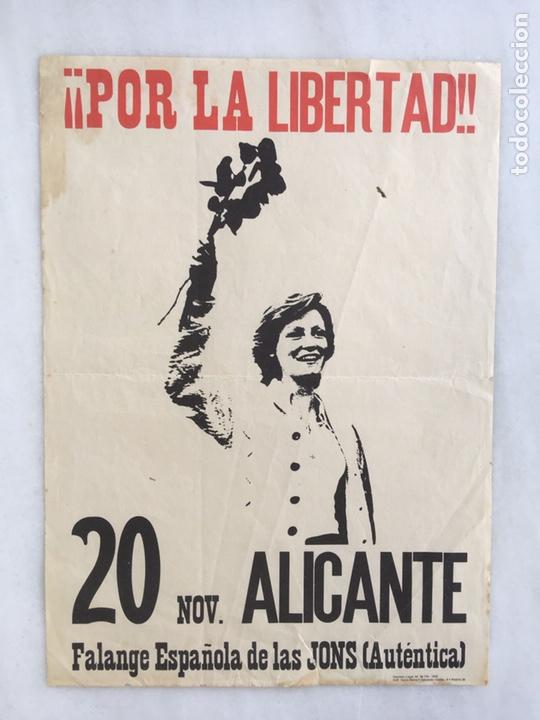 CARTEL ORIGINAL POR LA LIBERTAD 1976 FALANGE (Coleccionismo - Carteles gran Formato - Carteles Políticos)
