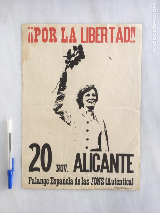 Carteles Políticos: CARTEL ORIGINAL POR LA LIBERTAD 1976 FALANGE - Foto 2 - 164135152