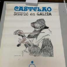 Carteles Políticos: 13 CARTELES DIBUJOS DE CASTELAO. SEMPRE EN GALIZA. 1984. CAIXA OURENSE. LOTE 13 UNIDADES 65X45 CM. Lote 171248243