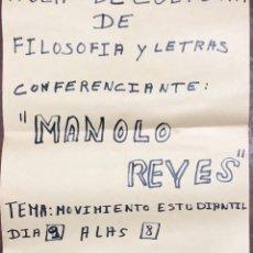 Carteles Políticos: CADIZ, 1976. CULTURA FILOSOFIA Y LETRAS. ANUNCIADOR DE CONFERENCIANTE MANOLO REYES. LUCHA SINDICAL. Lote 174555435