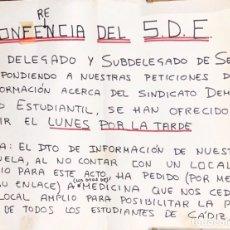 Carteles Políticos: CADIZ, 1976. SDE. SINDICATO DEMOCRATICO ESTUDIANTIL. CONFERENCIA. . Lote 174560127