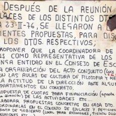 Carteles Políticos: CADIZ, 1976. CARTEL DE REUNION DE ENLACES SINDICALES. CULTURA DE FILOSOFIA Y MEDICINA. . Lote 174563252