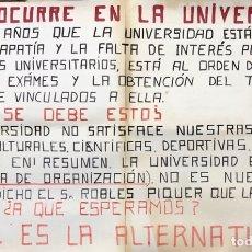 Carteles Políticos: CADIZ, 1976. CARTEL DE PROTESTA DEL ESTADO DE LA UNIVERSIDAD. LUCHA ESTUDIANTIL.. Lote 174563867