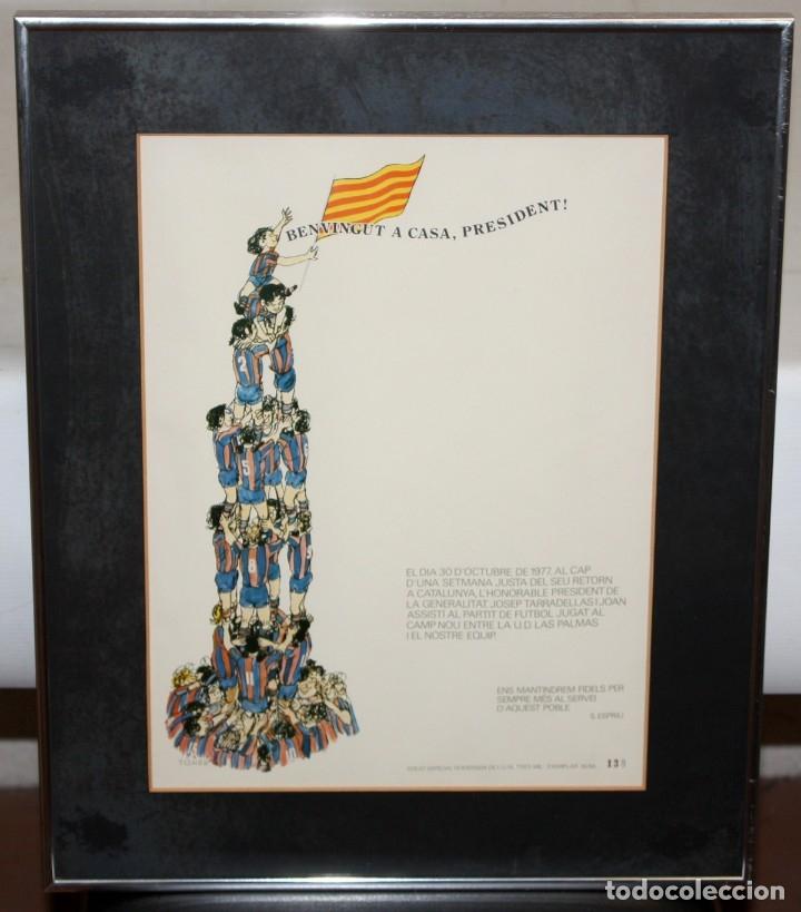 Carteles Políticos: CARTEL - F.C.BARCELONA - LAS PALMAS - 30 -10 -1977 - JOSEP TARRADELLAS - TISNER - SALVADOR ESPRIU. - Foto 2 - 175203170