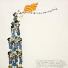 Carteles Políticos: CARTEL - F.C.BARCELONA - LAS PALMAS - 30 -10 -1977 - JOSEP TARRADELLAS - TISNER - SALVADOR ESPRIU.. Lote 175203170