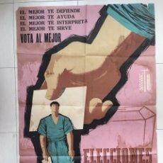 Carteles Políticos: ELECCIONES SINDICALES OTOÑO 1960 DIBUJANTE TEODORO DELGADO ORIGINAL DE ÉPOCA. Lote 175325537
