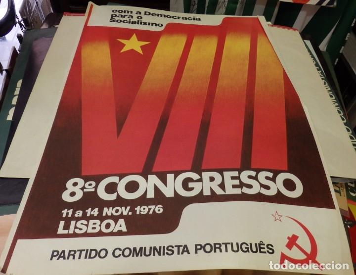 PORTUGAL, PARTIDO COMUNISTA PORTUGUES, 1976,CARTEL VIII CONGRESO, MUY RARO,48X68 CMS (Coleccionismo - Carteles gran Formato - Carteles Políticos)