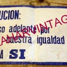 Carteles Políticos: 1978, RARISIMO CARTEL REFERENDUM CONSTITUCION, A.D.M.A., ASOCIACION DEMOCRATICA MUJERES ARAGONESAS. Lote 177131913