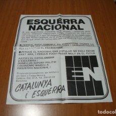 Carteles Políticos: (TC-230/19) CARTEL POLITICO ESQUERRA NACIONAL. Lote 177702703
