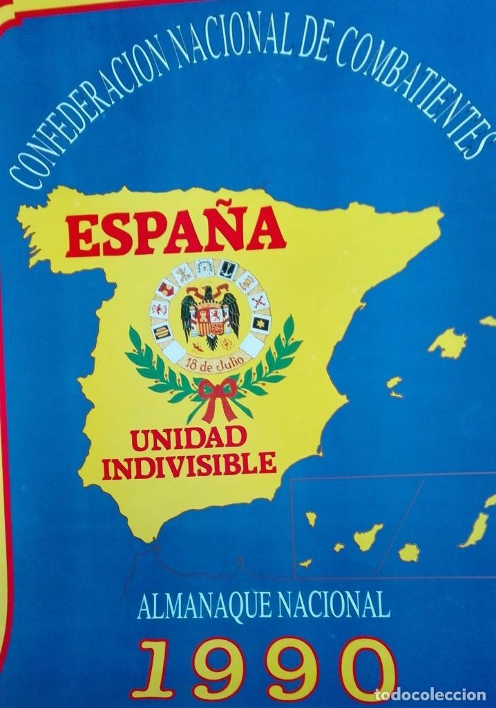 Carteles Políticos: Almanaque nacional para 1990 de la Confederación Nacional de Combatientes de España - Foto 10 - 179111935