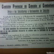 Carteles Políticos: COMISIÓN PROVINCIAL DE SUBSIDIO AL COMBATIENTE, 1938 - SALUDA A FRANCO, GUERRA CIVIL ESPAÑOLA. Lote 180902738