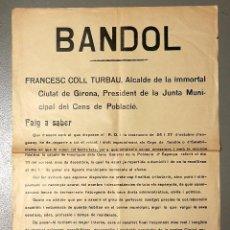Carteles Políticos: NUMULITE BANDOL FRANCESC COLL TURBAU ALCALDE GIRONA GERONA DIARIO RAHOLA RECOMPTE CIUTADANS. Lote 183609942