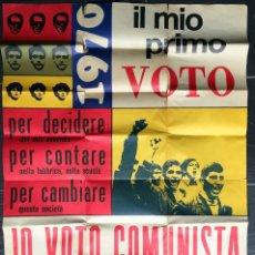 Carteles Políticos: 1970 - PARTIDO COMUNISTA ITALIA - FEDERAZIONE GIOVANILE COMUNISTA ITALIANA - IO VOTO COMUNISTA. Lote 187128356