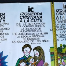 Carteles Políticos: CARTEL 49 X 69 CMS. AÑOS 70 PARTIDO POLÍTICO IZQUIERDA CRISTIANA CHILE. Lote 191254666