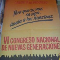 Carteles Políticos: CARTEL DEL VI CONGRESO NACIONAL DE NUEVAS GENERACIONES ( DE ALIANZA POPULAR ), 1985. Lote 195133537