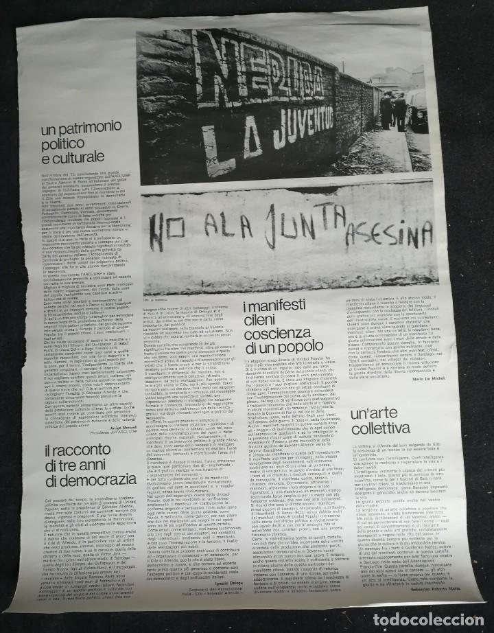 CARTEL 49 X 69 CMS. 1975 ASSOCIAZIONE ITALIA-CILE SALVADOR ALLENDE (Coleccionismo - Carteles gran Formato - Carteles Políticos)