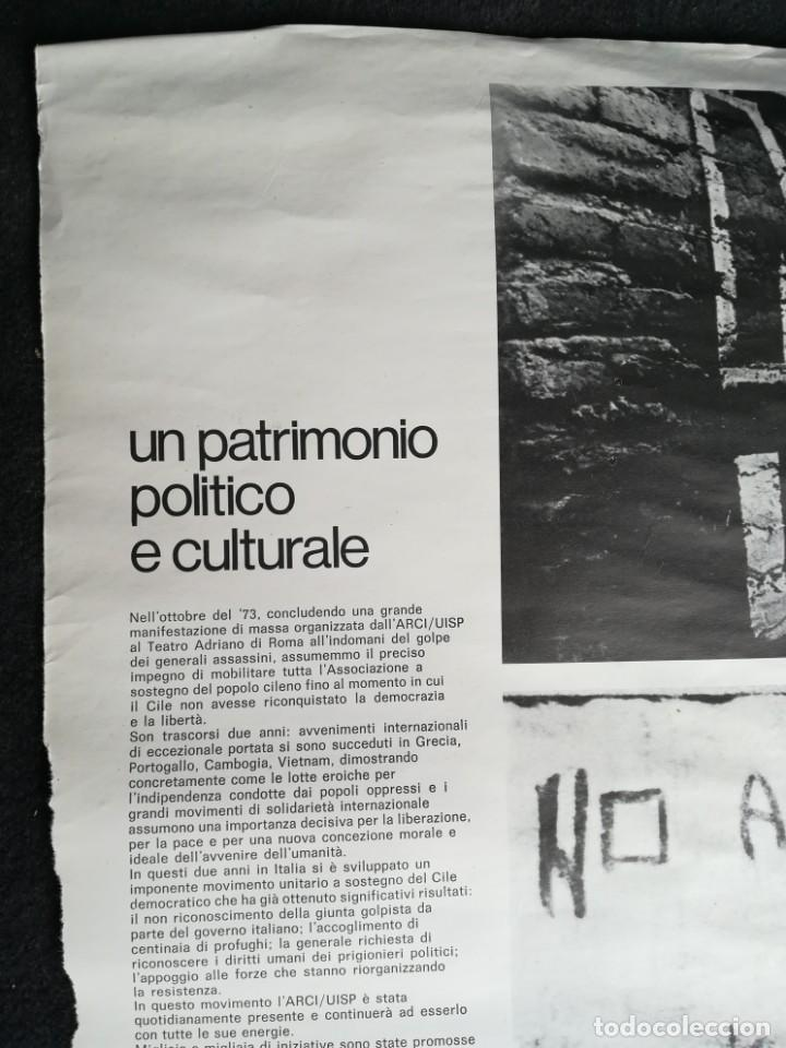 Carteles Políticos: CARTEL 49 x 69 cms. 1975 ASSOCIAZIONE ITALIA-CILE SALVADOR ALLENDE - Foto 2 - 195291217