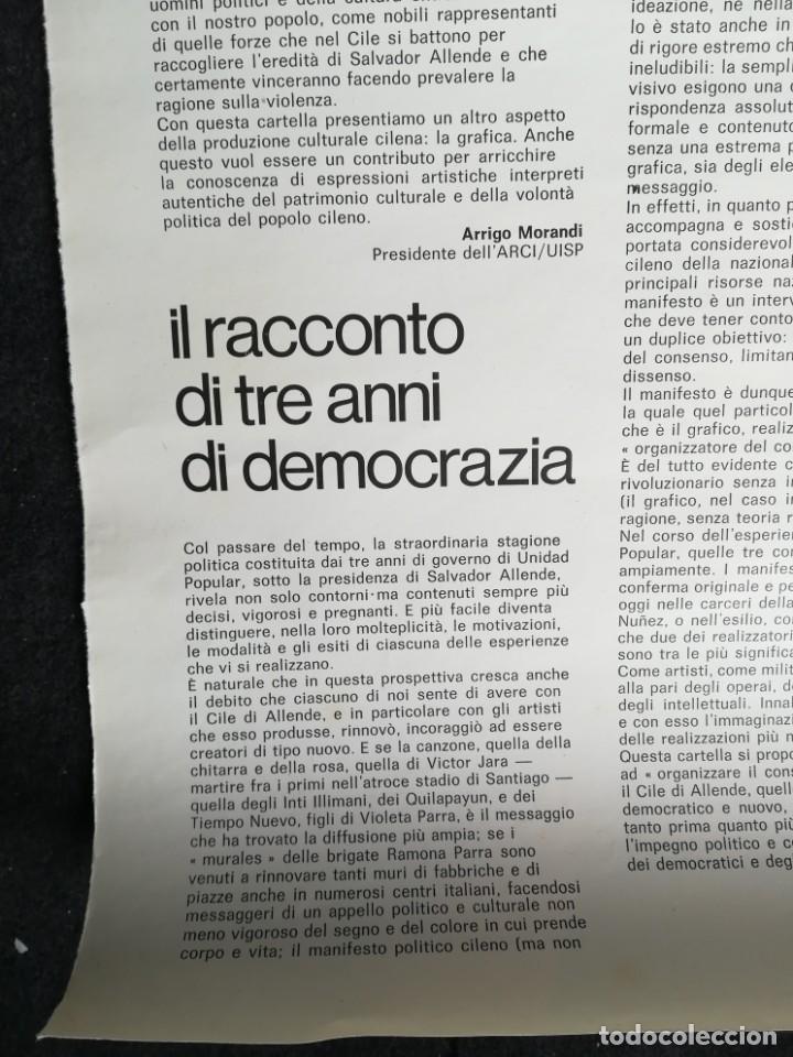 Carteles Políticos: CARTEL 49 x 69 cms. 1975 ASSOCIAZIONE ITALIA-CILE SALVADOR ALLENDE - Foto 4 - 195291217