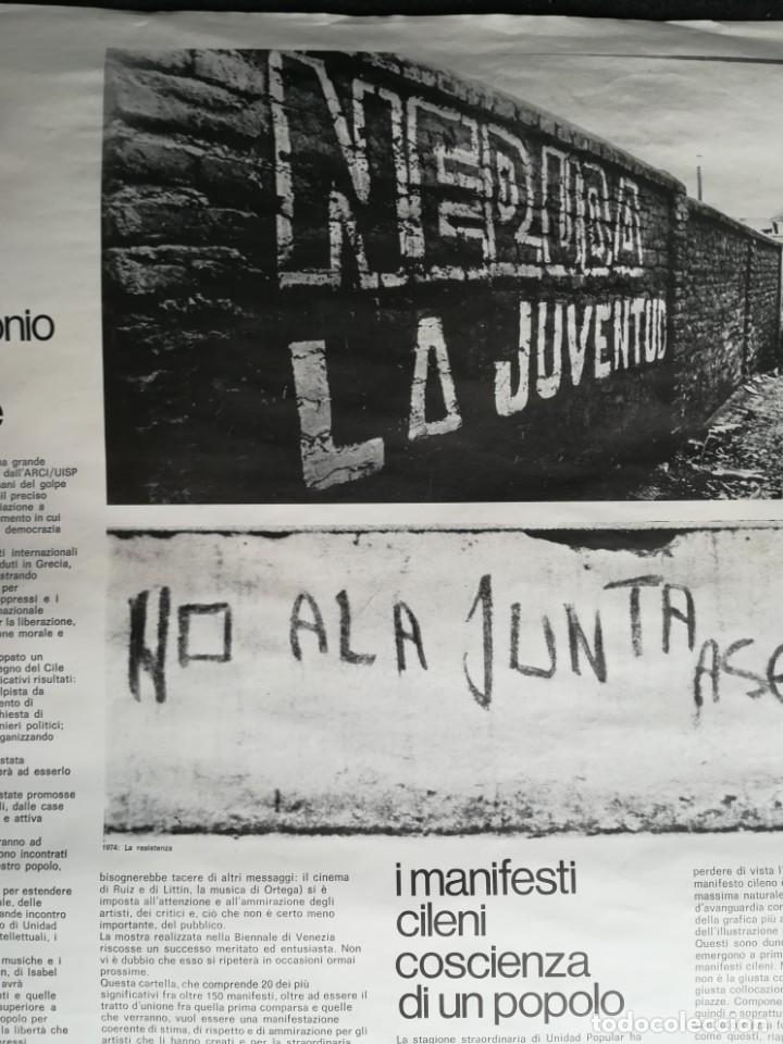 Carteles Políticos: CARTEL 49 x 69 cms. 1975 ASSOCIAZIONE ITALIA-CILE SALVADOR ALLENDE - Foto 5 - 195291217