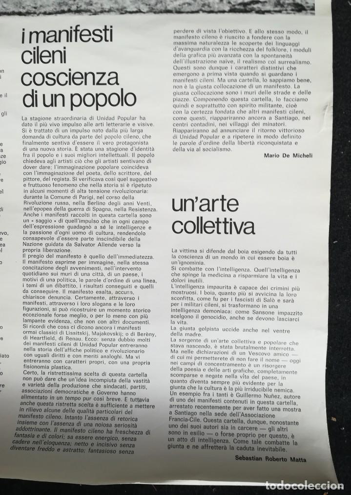 Carteles Políticos: CARTEL 49 x 69 cms. 1975 ASSOCIAZIONE ITALIA-CILE SALVADOR ALLENDE - Foto 7 - 195291217