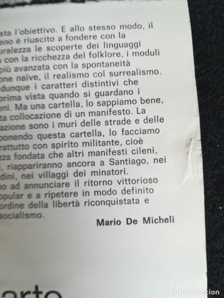 Carteles Políticos: CARTEL 49 x 69 cms. 1975 ASSOCIAZIONE ITALIA-CILE SALVADOR ALLENDE - Foto 8 - 195291217