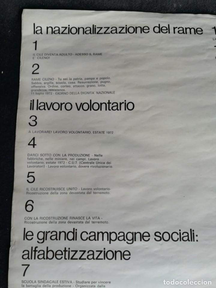 Carteles Políticos: CARTEL 49 x 69 cms. 1975 ASSOCIAZIONE ITALIA-CILE SALVADOR ALLENDE - Foto 11 - 195291217