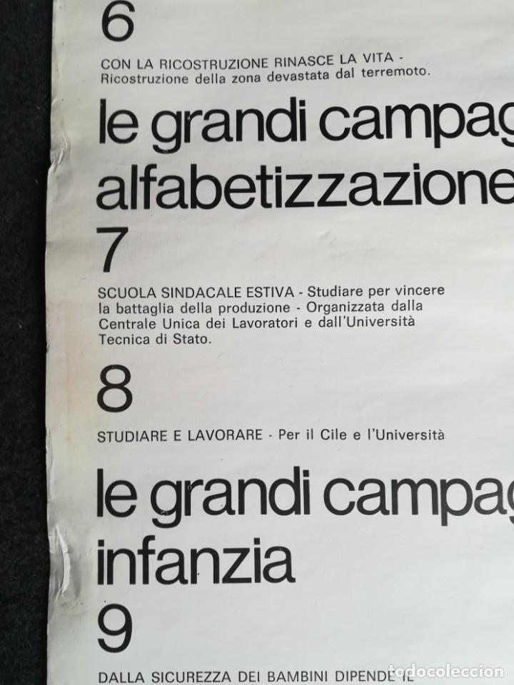 Carteles Políticos: CARTEL 49 x 69 cms. 1975 ASSOCIAZIONE ITALIA-CILE SALVADOR ALLENDE - Foto 15 - 195291217