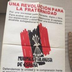 Carteles Políticos: RARÍSIMO CARTEL POLÍTICO,TRANSICIÓN,NACIONAL REVOLUCIONARIO,MOVIMIENTO FALANGISTA DE ESPAÑA,FALANGE,. Lote 199070572