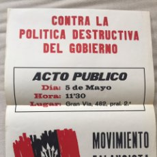 Carteles Políticos: RARÍSIMO CARTEL POLÍTICO,TRANSICIÓN,NACIONAL REVOLUCIONARIO,MOVIMIENTO FALANGISTA DE ESPAÑA,FALANGE,. Lote 199070733