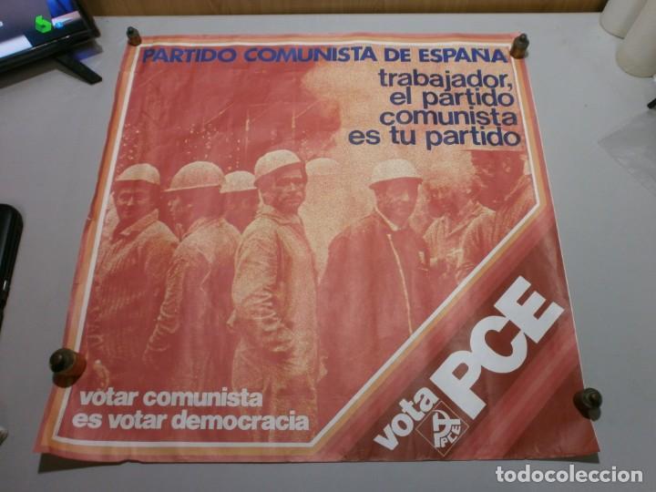 CARTEL POLITICO PLENA TRANSICION AÑO 1977 ORIGINAL VOTA PCE MIDE 64X64 CMS (Coleccionismo - Carteles gran Formato - Carteles Políticos)
