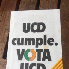 Carteles Políticos: PANFLETO VOTA UNIÓN DE CENTRO DEMOCRÁTICO UCD DE VALENCIA. ELECCIONES GENERALES 1979. Lote 204405512