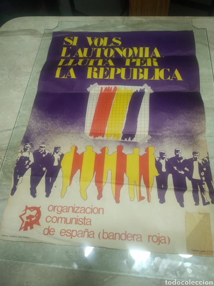 CARTEL REPÚBLICA COMUNISTA DE ESPAÑA BANDERA ROJA (Coleccionismo - Carteles gran Formato - Carteles Políticos)