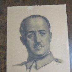 Affissi Politici: LITOGRAFIA DE FRANCISCO FRANCO EL CAUDILLO CON FIRMA DEL AUTOR. Lote 214081981