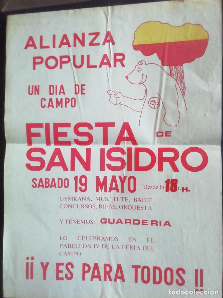 CARTEL DE ALIANZA POPULAR. FIESTA DE SAN ISIDRO. 42.5 X 31.5 (Coleccionismo - Carteles gran Formato - Carteles Políticos)