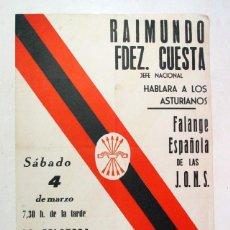 Carteles Políticos: ANTIGUO CARTEL FALANGE ESPAÑOLA. MITIN LA FELGUERA. ASTURIAS. 1978. ULTRADERECHA. TRANSICIÓN. Lote 219110396