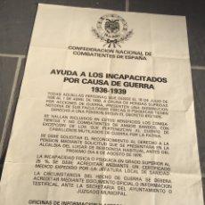 Carteles Políticos: RARO CARTEL FALANGISTA,FALANGE,FUERZA NUEVA,EXCOMBATIENTES,TRANSICION. Lote 219617363