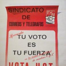 Affiches Politiques: CARTEL SINDICATO DE CORREOS Y TELÉGRAFOS. VOTA U.G.T.. Lote 219972401