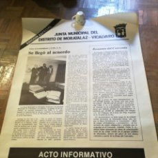 Affiches Politiques: CARTEL JUNTA MUNICIPAL DE VICÁLVARO. CONVENIO. Lote 220152051