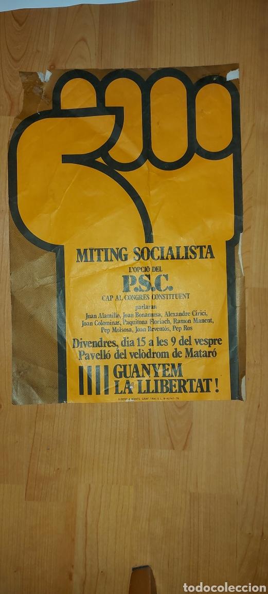 CARTEL MÍTING SOCIALISTA PSC 1976 MATARÓ (Coleccionismo - Carteles gran Formato - Carteles Políticos)