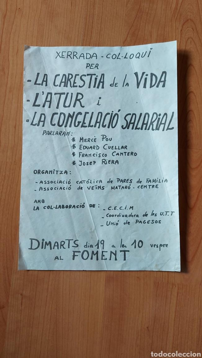 CARTEL POLÍTICO XERRADA COL·LOQUI PER CARESITA DE LA VIDA ATUR CONGELACIÓ SALARIAL CIRCA AÑOS 70 (Coleccionismo - Carteles gran Formato - Carteles Políticos)
