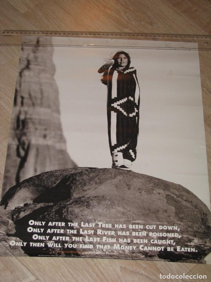 PROFECÍA INDIA. ECOLOGIA, PAZ. CREE INDIAN PROPHECY. MODELO-SHAR LOPEZ, 2001 IMPRESO EN SUIZA. (Coleccionismo - Carteles gran Formato - Carteles Políticos)