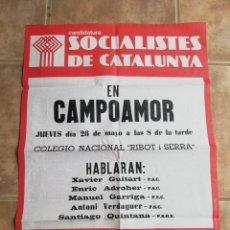Affissi Politici: ELECCIONES GENERALES 1977. MITIN DEL PSC - PSOE EN CAMPOAMOR (SABADELL). Lote 244505075