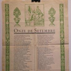 Affissi Politici: CARTEL - ONZE DE SETEMBRE - SUPLEMENT DE L'ESTEVET - SETMANARI NACIONALISTA - SIGLO XX - 31 X 43.50. Lote 252135620